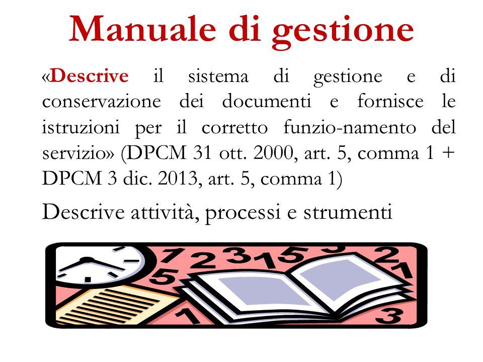 Manuale di gestione Descrive attività, processi e strumenti
