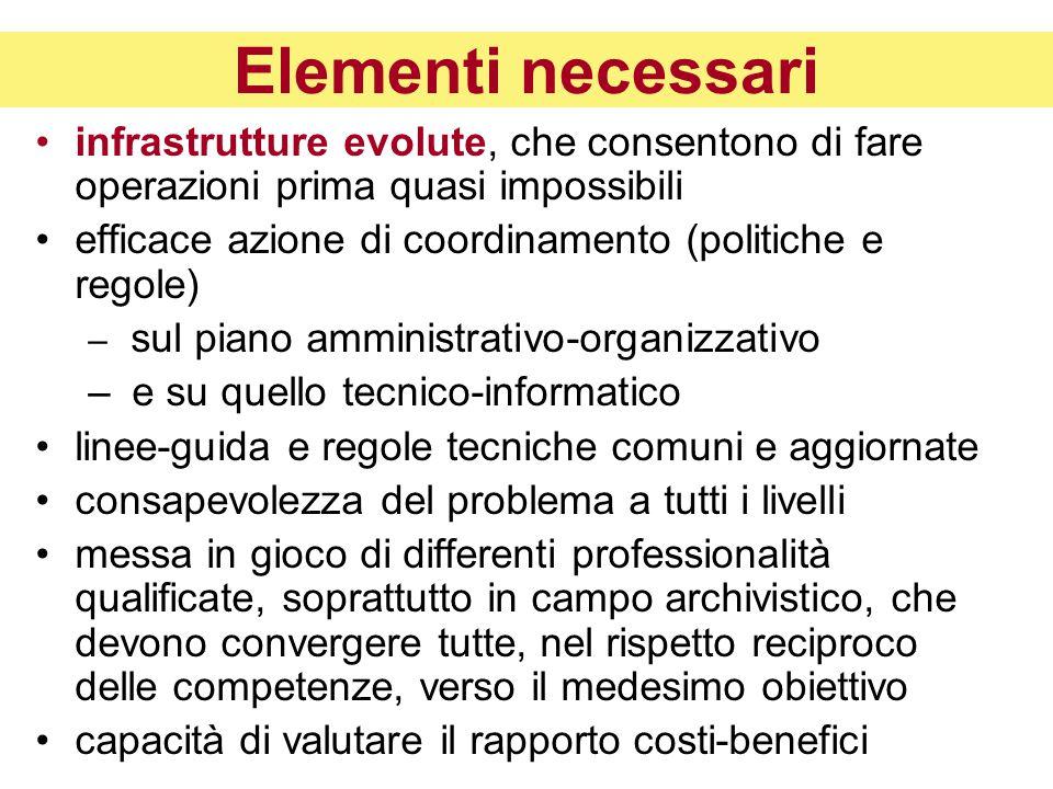 Elementi necessari infrastrutture evolute, che consentono di fare operazioni prima quasi impossibili.