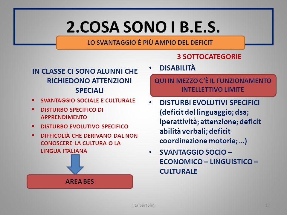 2.COSA SONO I B.E.S. 3 SOTTOCATEGORIE DISABILITÀ