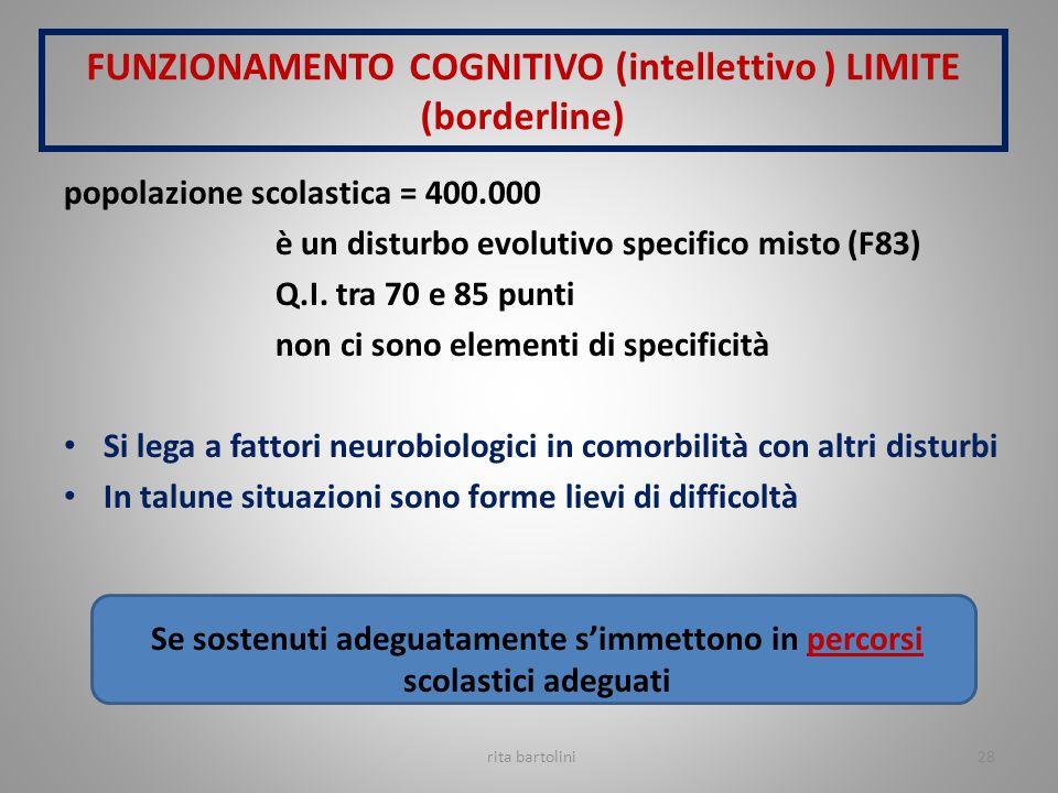 FUNZIONAMENTO COGNITIVO (intellettivo ) LIMITE (borderline)