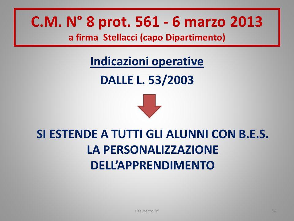 Indicazioni operative DALLE L. 53/2003