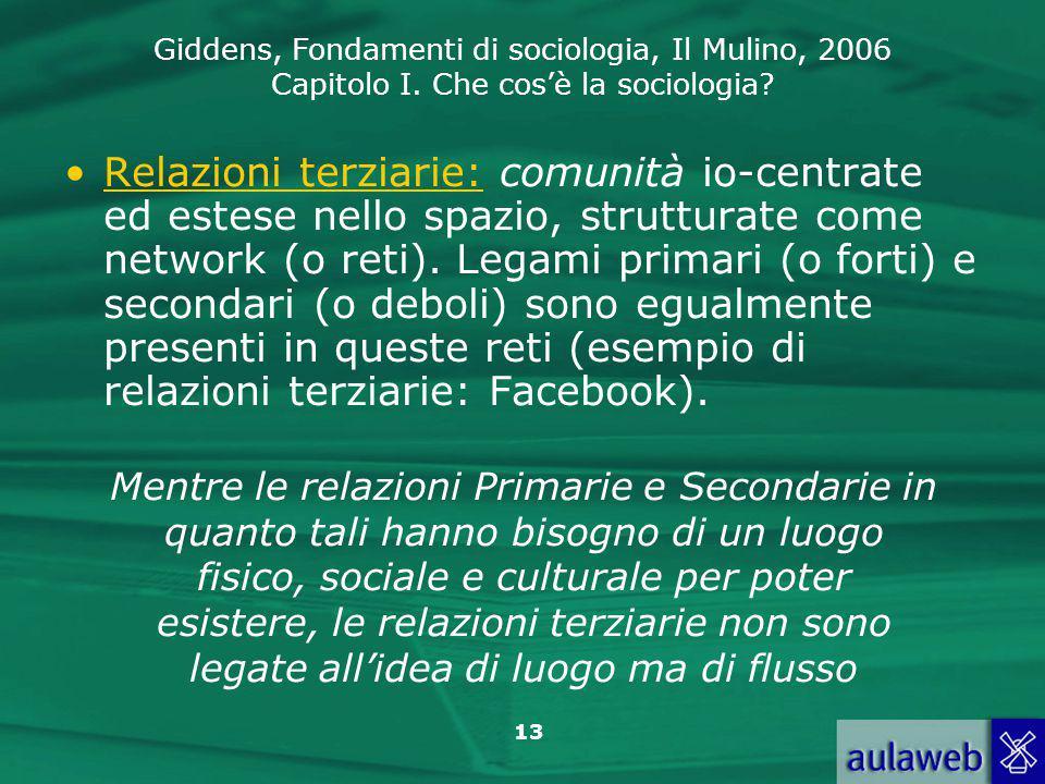 Relazioni terziarie: comunità io-centrate ed estese nello spazio, strutturate come network (o reti). Legami primari (o forti) e secondari (o deboli) sono egualmente presenti in queste reti (esempio di relazioni terziarie: Facebook).