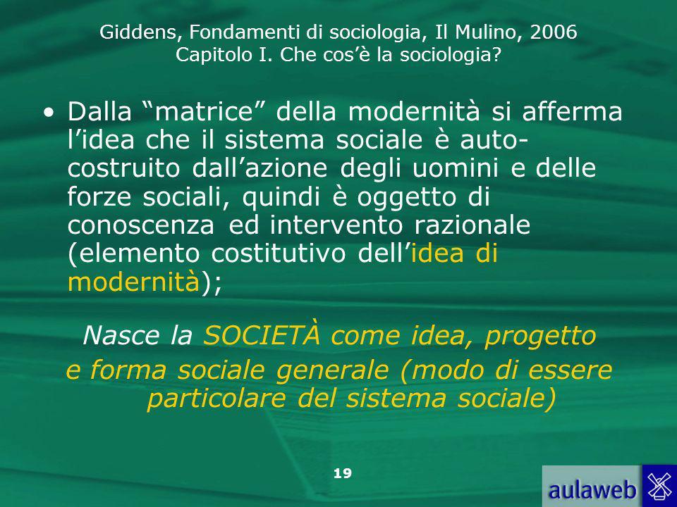 Nasce la SOCIETÀ come idea, progetto