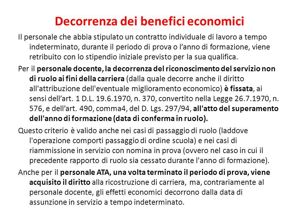 Decorrenza dei benefici economici