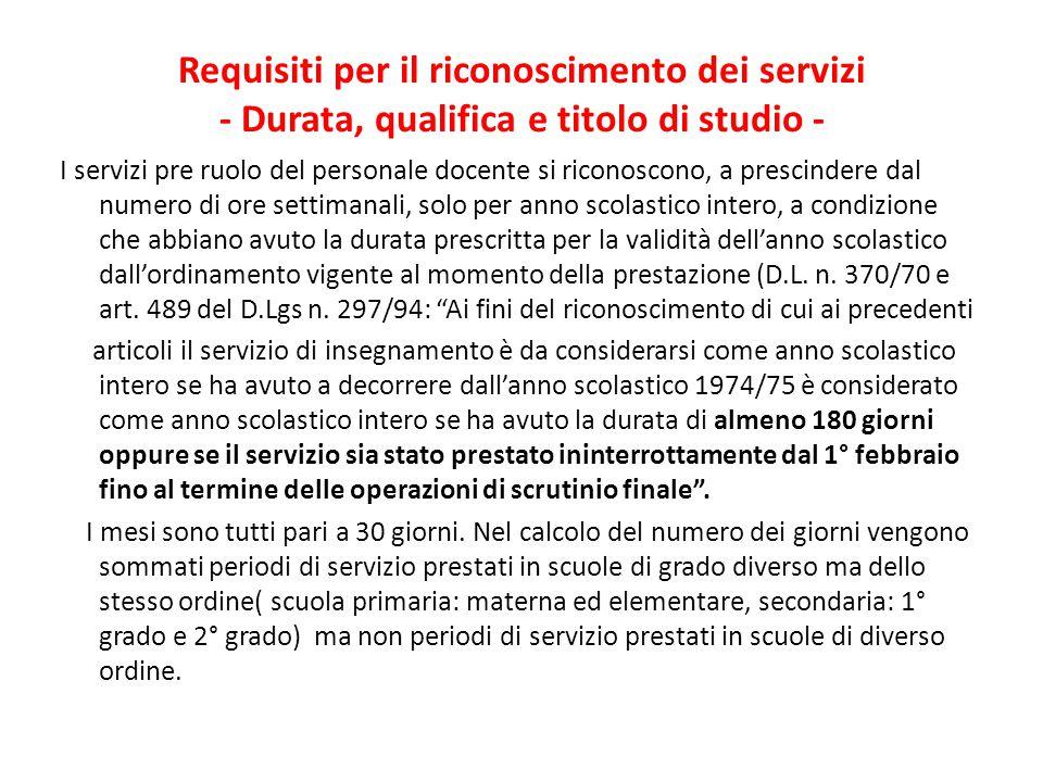 Requisiti per il riconoscimento dei servizi - Durata, qualifica e titolo di studio -