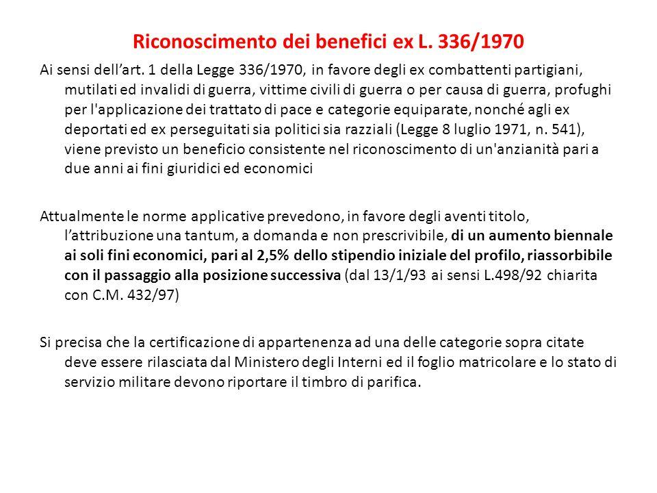 Riconoscimento dei benefici ex L. 336/1970
