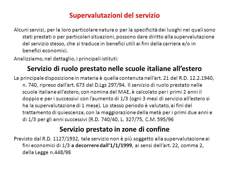 Supervalutazioni del servizio