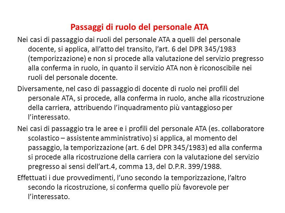 Passaggi di ruolo del personale ATA