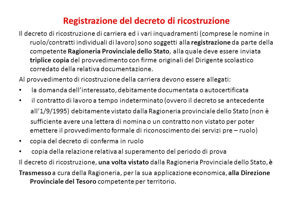 Registrazione del decreto di ricostruzione