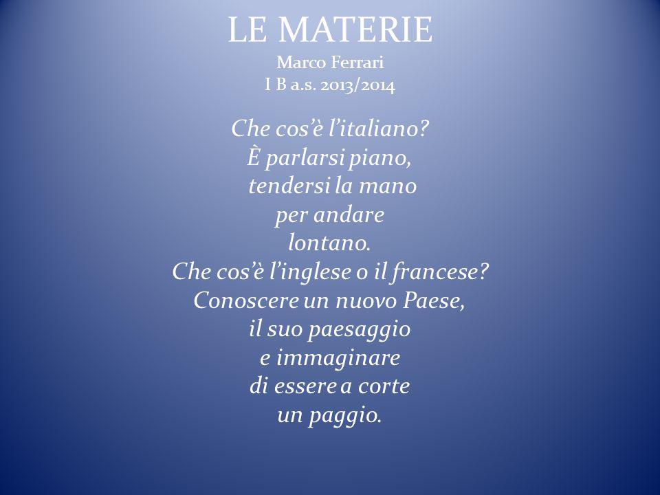 LE MATERIE Marco Ferrari I B a.s. 2013/2014