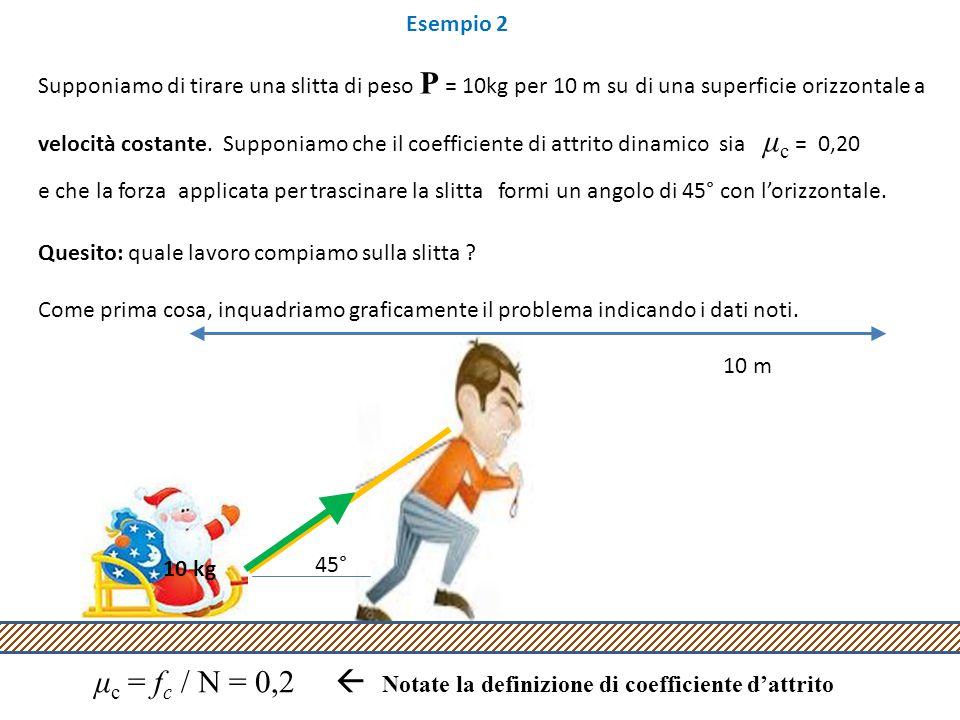 μc = fc / N = 0,2  Notate la definizione di coefficiente d'attrito