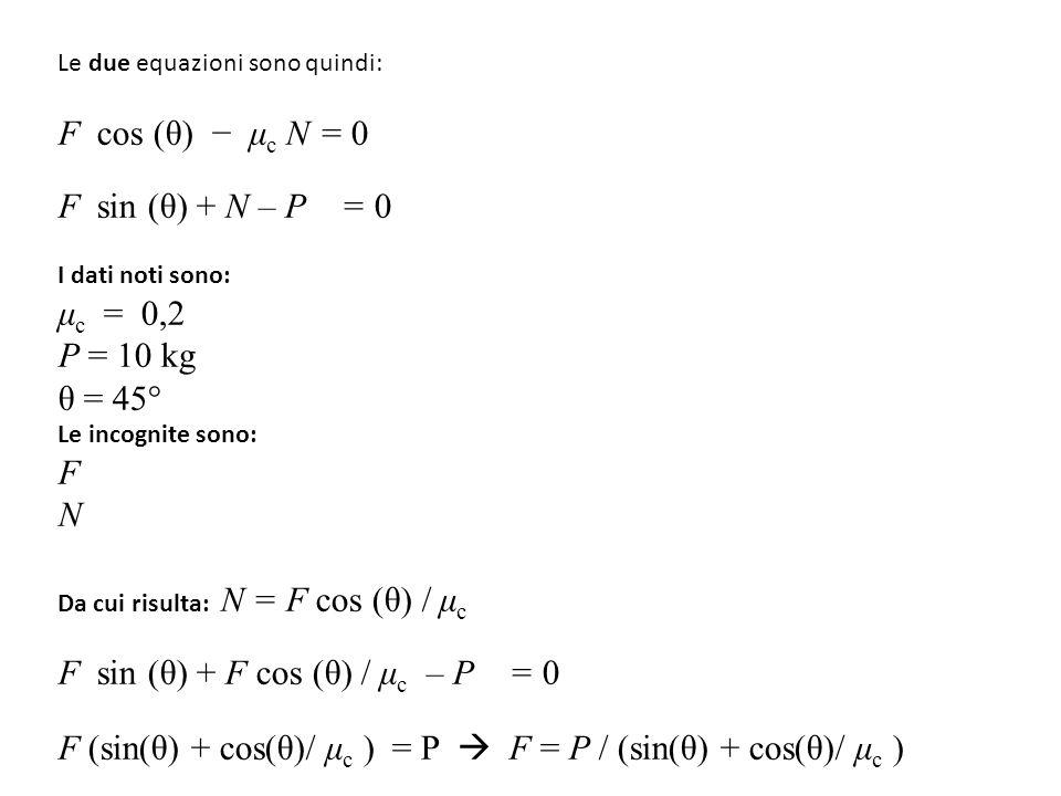 F sin (θ) + F cos (θ) / μc – P = 0