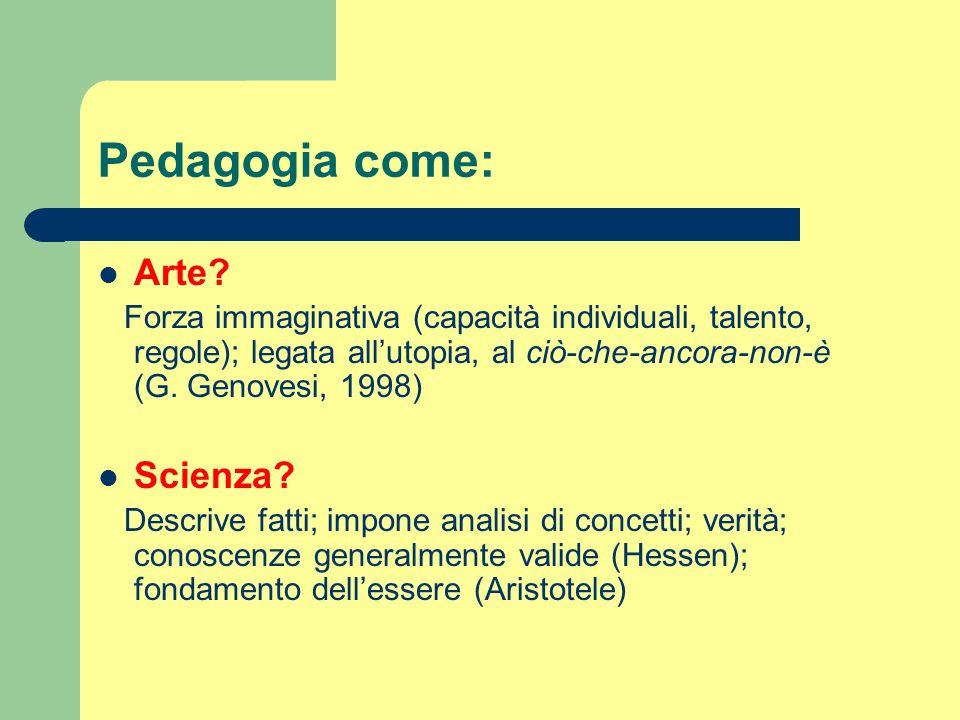 Pedagogia come: Arte Scienza