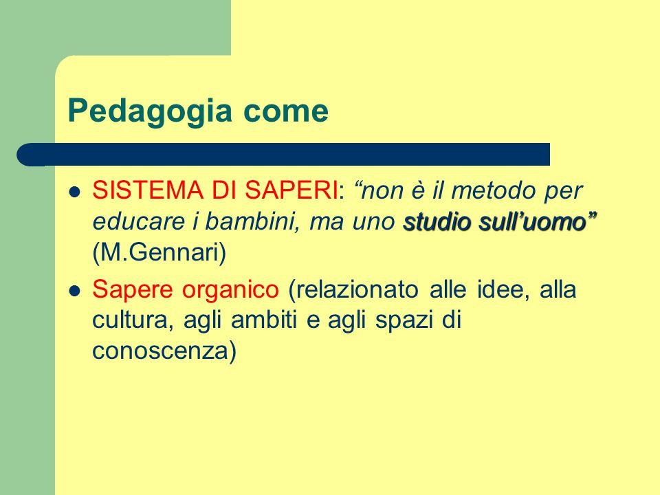Pedagogia come SISTEMA DI SAPERI: non è il metodo per educare i bambini, ma uno studio sull'uomo (M.Gennari)