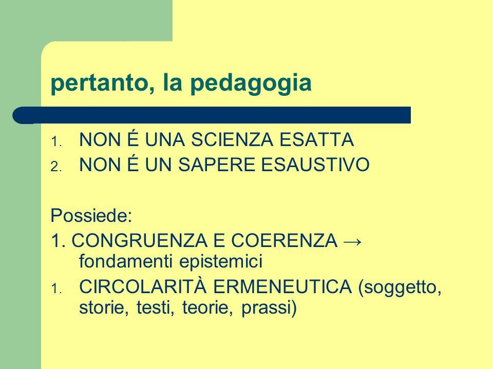 pertanto, la pedagogia NON É UNA SCIENZA ESATTA