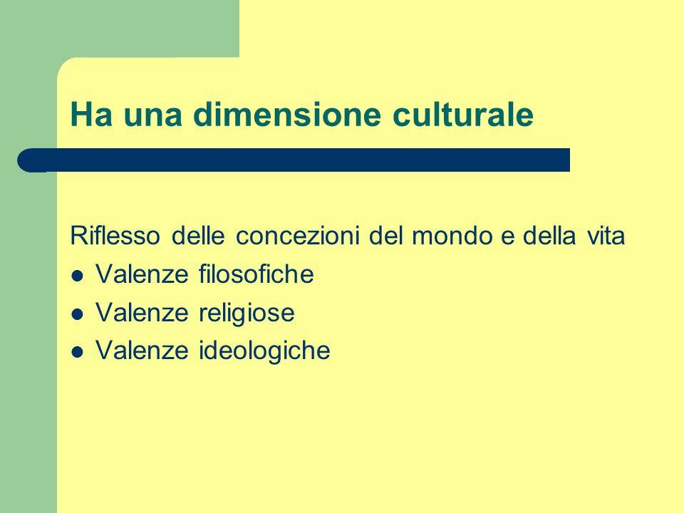 Ha una dimensione culturale