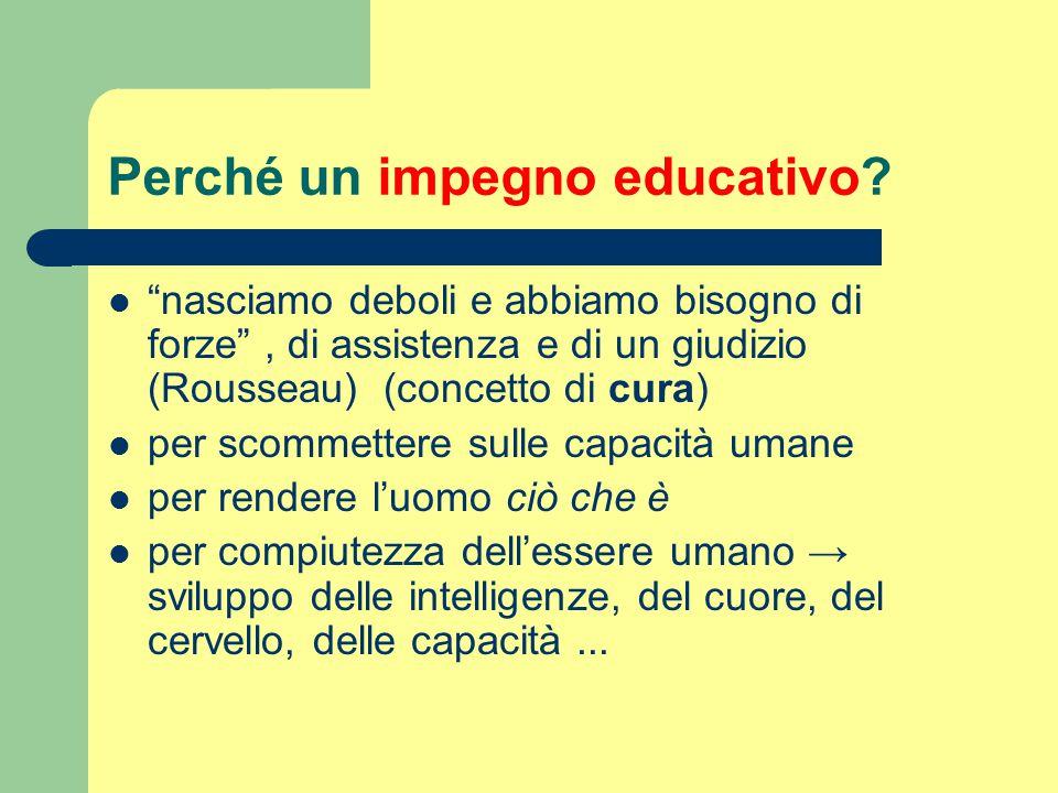 Perché un impegno educativo
