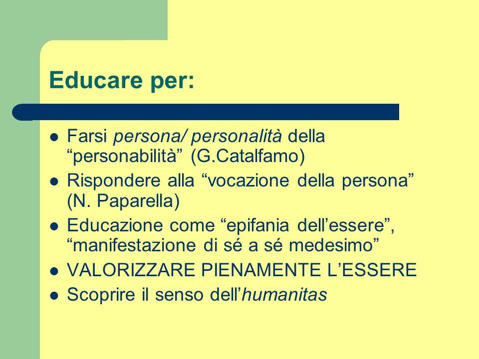 Educare per: Farsi persona/ personalità della personabilità (G.Catalfamo) Rispondere alla vocazione della persona (N. Paparella)
