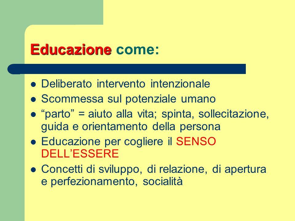 Educazione come: Deliberato intervento intenzionale