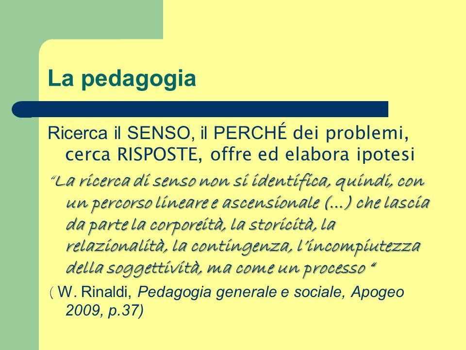 La pedagogia Ricerca il SENSO, il PERCHÉ dei problemi, cerca RISPOSTE, offre ed elabora ipotesi.