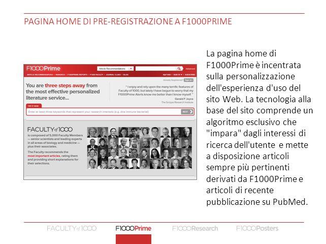PAGINA HOME di pre-registrazione a F1000Prime