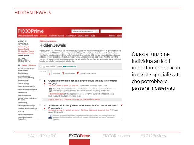 Hidden jewels Questa funzione individua articoli importanti pubblicati in riviste specializzate che potrebbero passare inosservati.