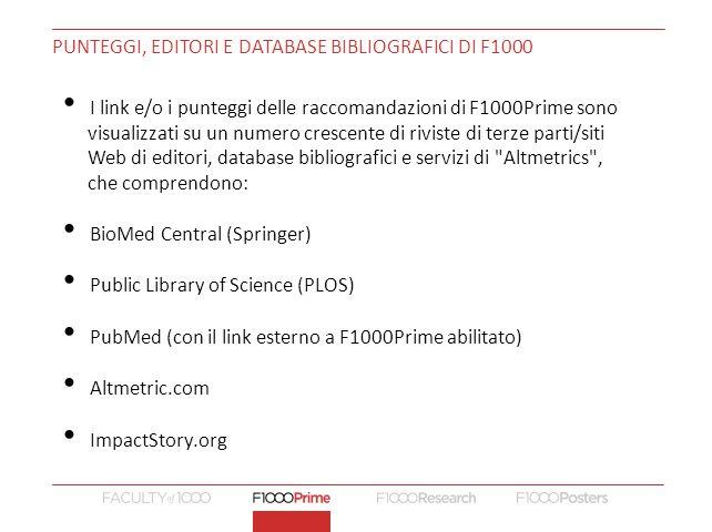 Punteggi, editori e database bibliografici di F1000