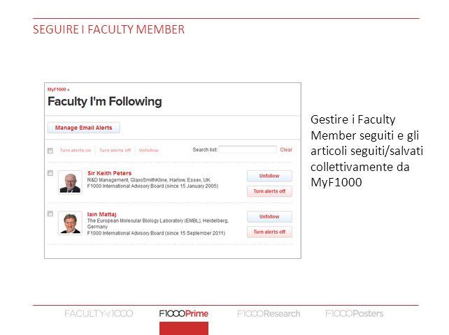 Seguire i Faculty Member
