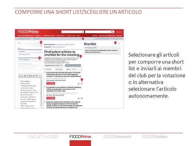 Comporre una short list/Scegliere un articolo
