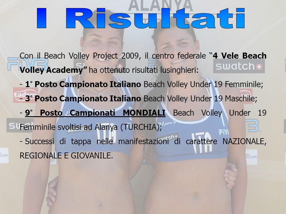 I Risultati Con il Beach Volley Project 2009, il centro federale 4 Vele Beach Volley Academy ha ottenuto risultati lusinghieri: