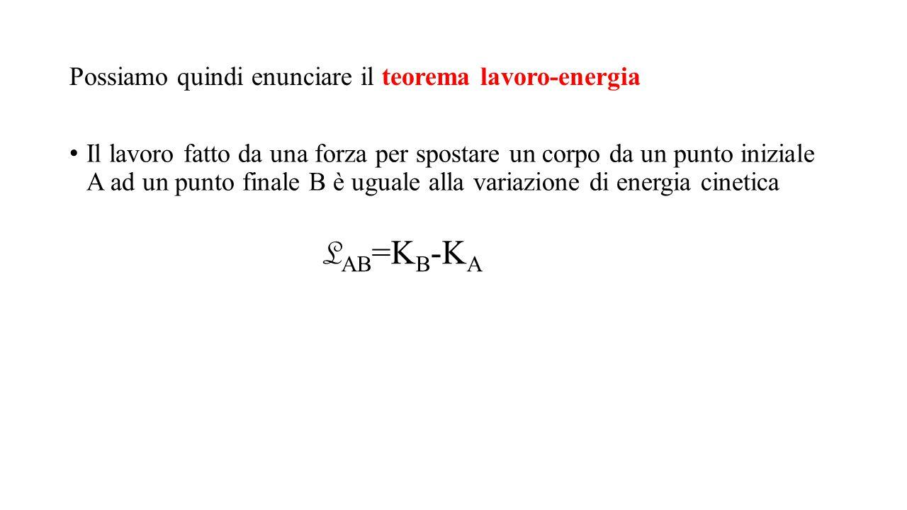 Possiamo quindi enunciare il teorema lavoro-energia