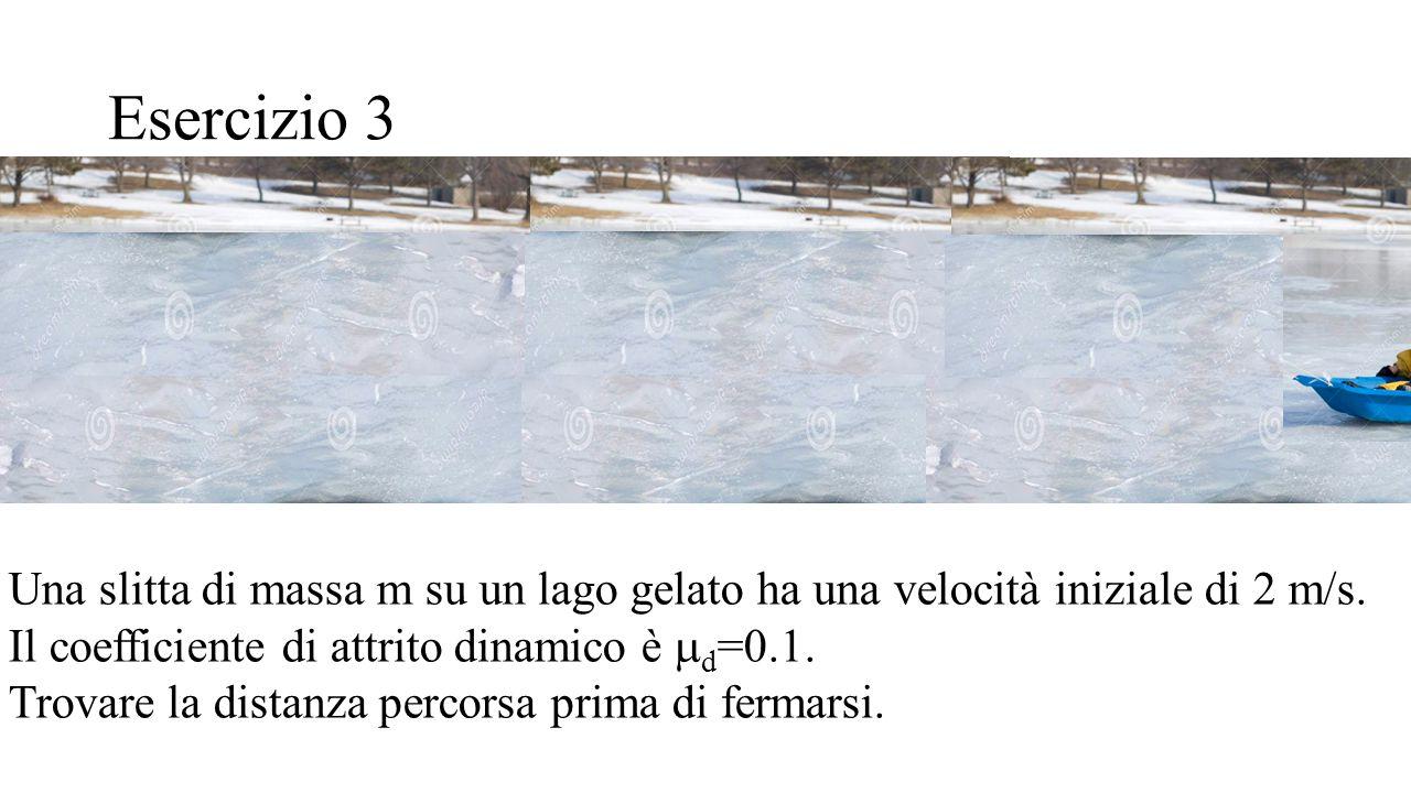 Esercizio 3 Una slitta di massa m su un lago gelato ha una velocità iniziale di 2 m/s. Il coefficiente di attrito dinamico è md=0.1.