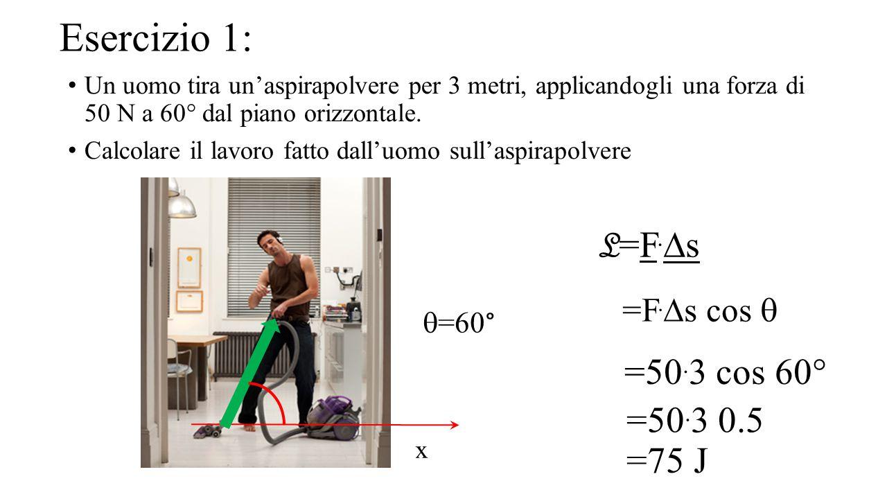 Esercizio 1: L=F.Ds =50.3 cos 60° =50.3 0.5 =75 J =F.Ds cos q q=60°