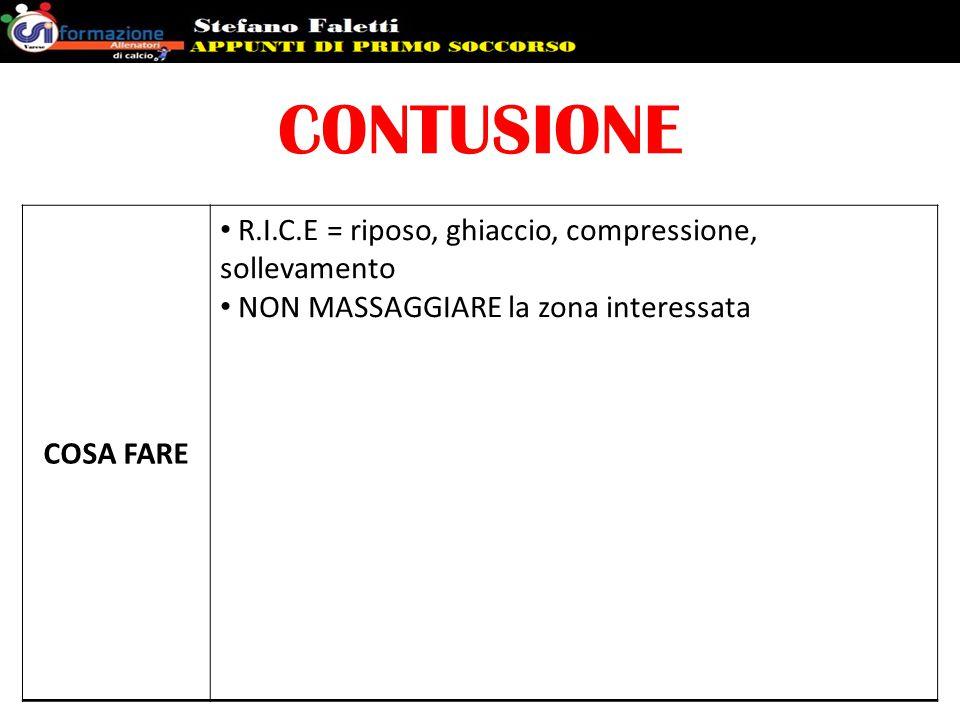 CONTUSIONE COSA FARE. R.I.C.E = riposo, ghiaccio, compressione, sollevamento.