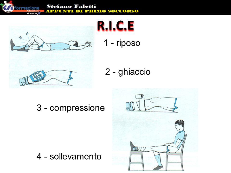 R.I.C.E 1 - riposo 2 - ghiaccio 3 - compressione 4 - sollevamento