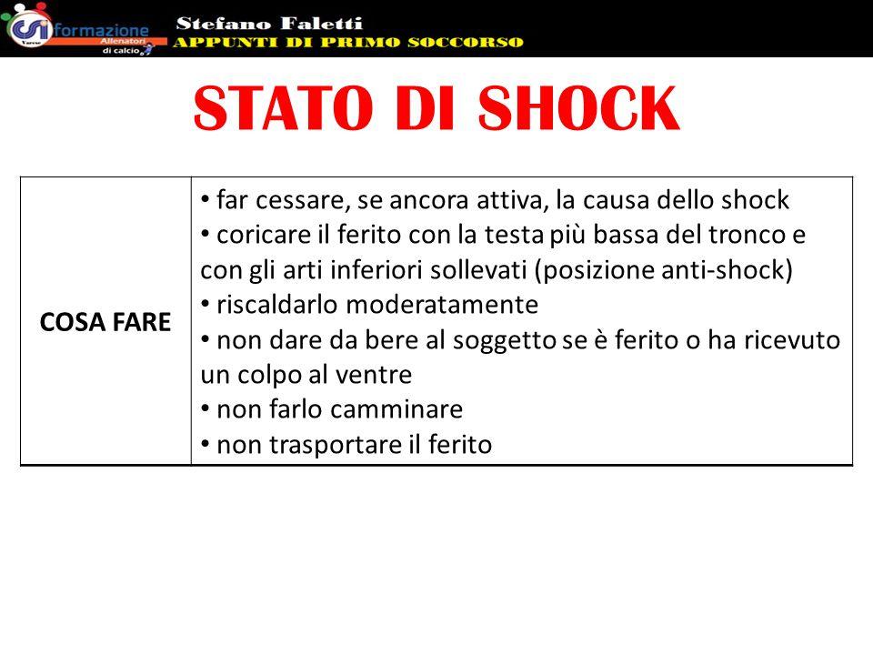 STATO DI SHOCK COSA FARE