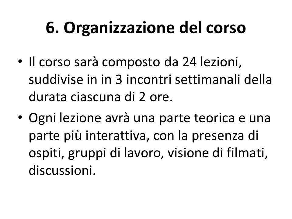 6. Organizzazione del corso