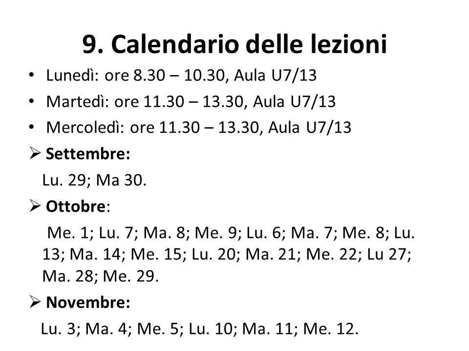 9. Calendario delle lezioni