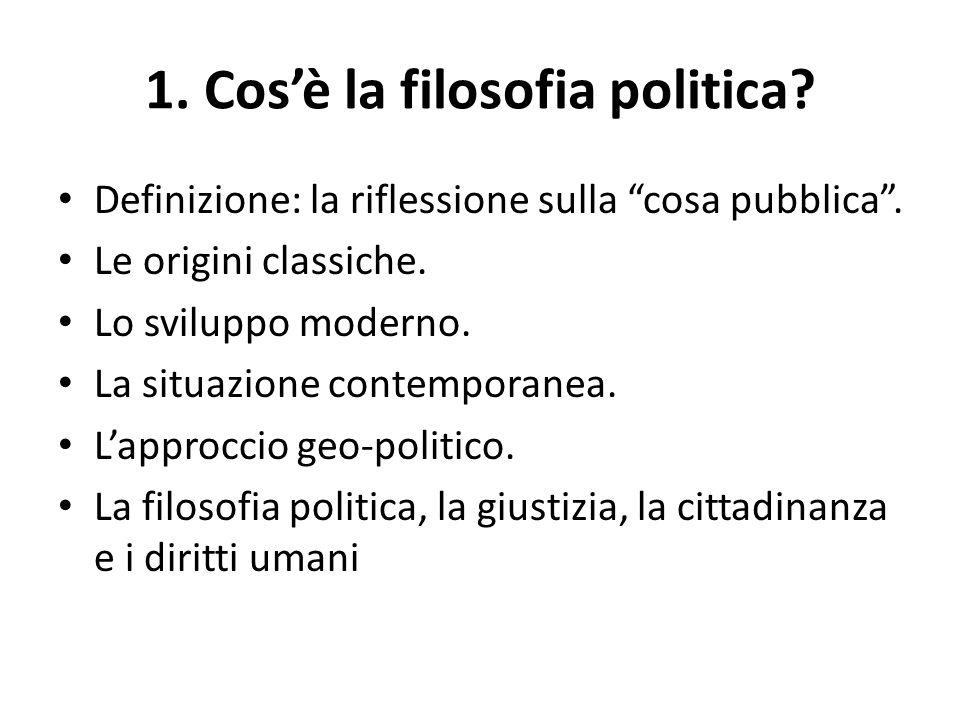 1. Cos'è la filosofia politica