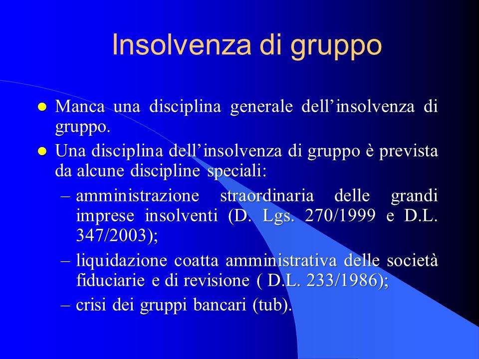 Insolvenza di gruppo Manca una disciplina generale dell'insolvenza di gruppo.