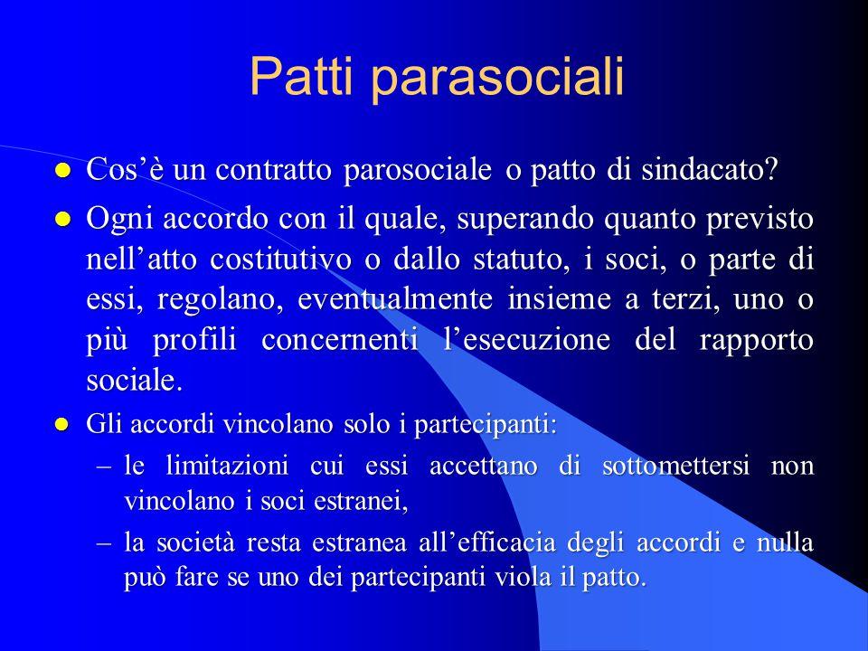 Patti parasociali Cos'è un contratto parosociale o patto di sindacato