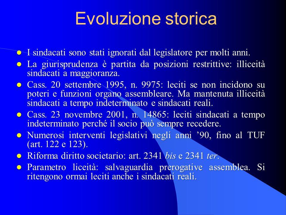 Evoluzione storica I sindacati sono stati ignorati dal legislatore per molti anni.
