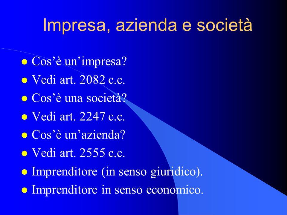 Impresa, azienda e società