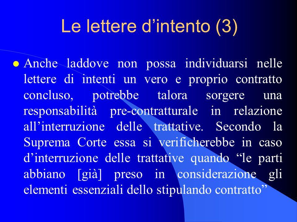 Le lettere d'intento (3)
