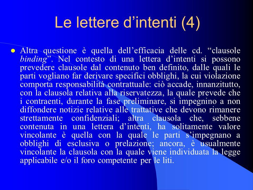 Le lettere d'intenti (4)