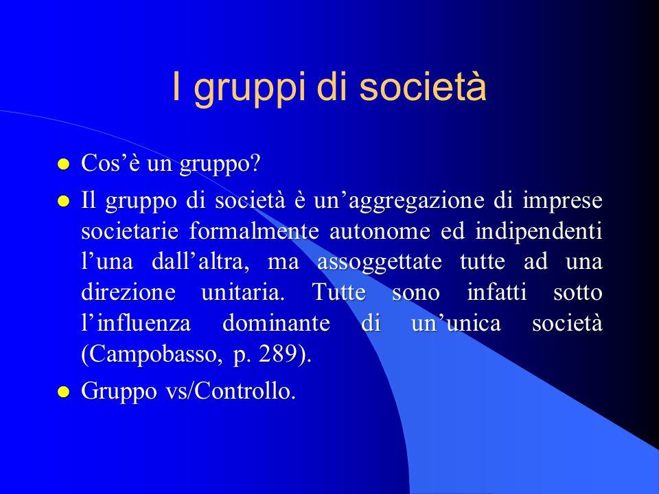I gruppi di società Cos'è un gruppo
