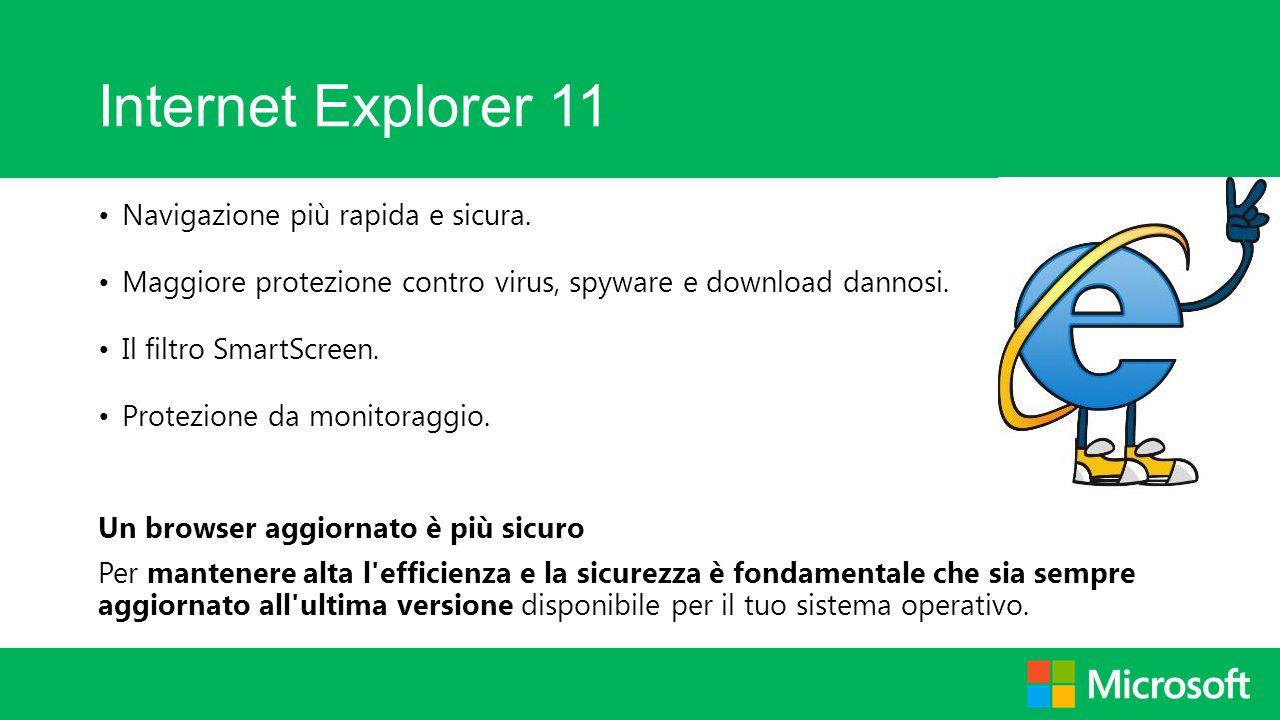 Internet Explorer 11 Navigazione più rapida e sicura.
