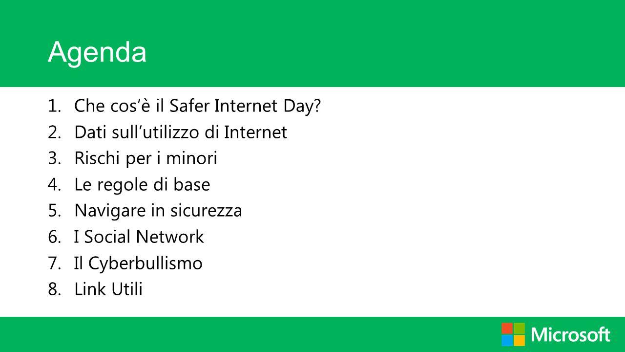 Agenda Che cos'è il Safer Internet Day Dati sull'utilizzo di Internet