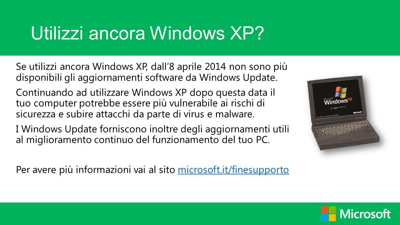 Utilizzi ancora Windows XP
