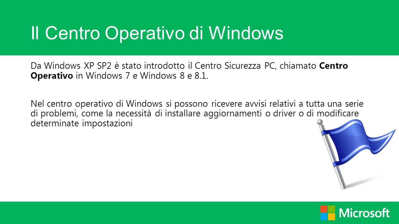 Il Centro Operativo di Windows